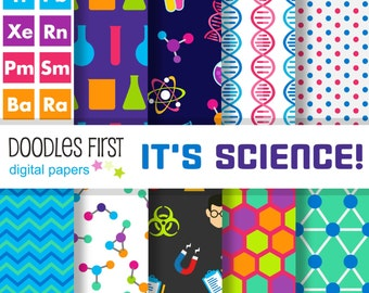 It's Science! Digital Paper Pack Includes 10 for Scrapbooking Paper Crafts