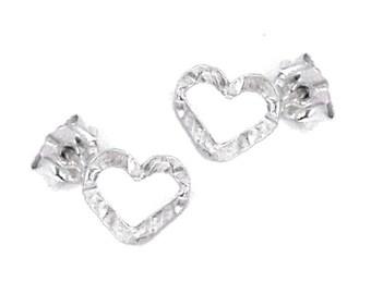 Heart Stud Earrings, Hollow Heart Earrings,  Open Heart Earrings, Silver Post Earrings, Minimalist Earrings, Simple Earrings