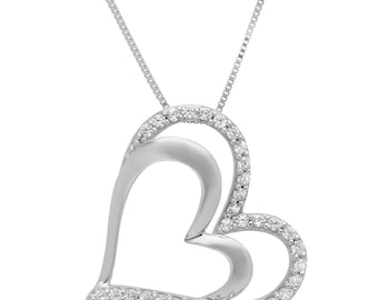 "Stone Necklace For Wife, Stone Necklace, Necklace For Wife, 0.40 Ct Heart Round Cut 14K White Gold Solitaire Pendant Necklace + 16"" Chain"
