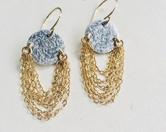 Silver and Gold Earrings, Dangle Earrings, Chainmaille Earrings, Mixed Metal Earrings, Chain Earrings