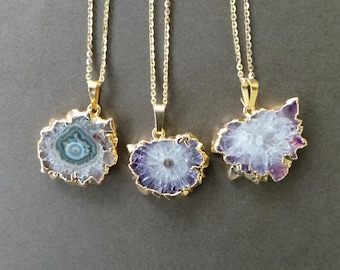 """Amethyst Stalactite Crystal Druzy Slice Gold Dipped Electroplated Pendant Necklace 18"""" A"""