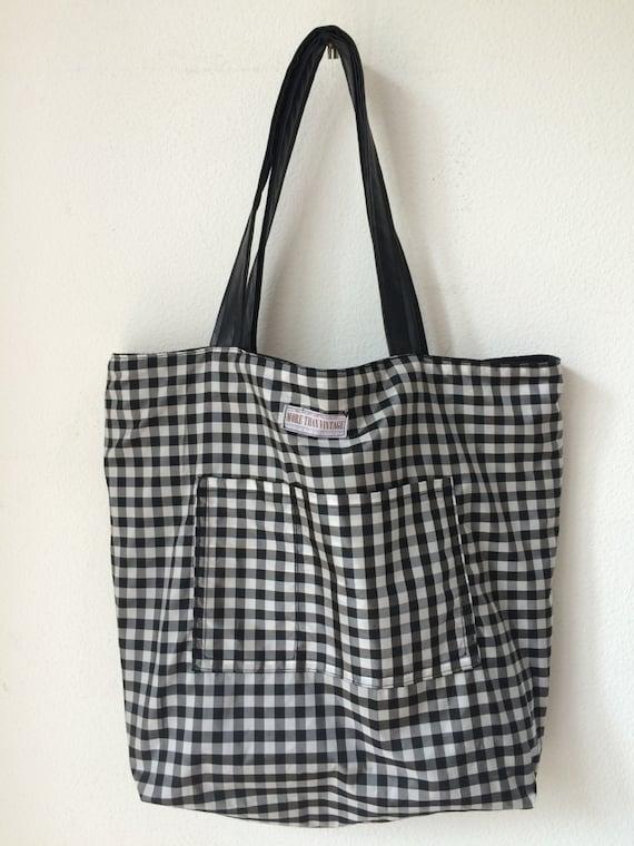 Handmade reversible black and white check totebag, bag or shoppingbag