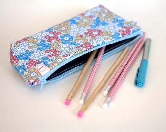 Zipper Pouch, Small flowers, Long Pencil pouch, Planner bag, Small Makeup bag, boy bag, kids school bag for supplies, Cosmetic travel pouch