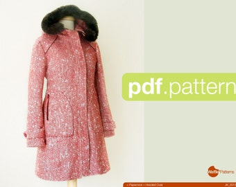 PDF sewing pattern. Women Hooded Coat -Pepernoot- (size 34-48)