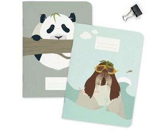 "Pocket size Notebook - Panda & Walrus   A6 - 4.13 x 5.83"""