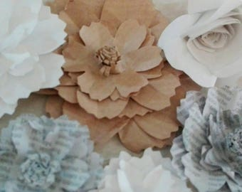 Small paper flowers various patterns and sizes