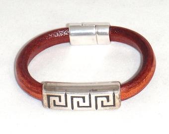 Red Leather and Pewter Greek Key Slider Cuff Bracelet