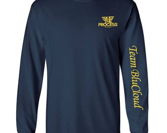 Trust The Process Tee (Long Sleeved) Navy/Yellow