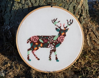 Floral Deer Cross Stitch Pattern PDF - Instant Download. Deer Silhouette Embroidery. Forest Animals Counted Cross Stitch Pattern. Wall Art