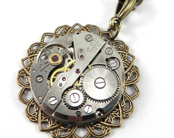 Steampunk Necklace Clockwork Mechanical Lace Watch Movement Pendant, Steampunk Jewelry by Compass Rose Design