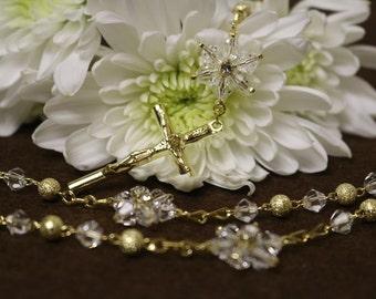 Wedding rosary, Catholic rosary, Catholic crystal rosary, Rosary for wedding, First communion rosary, Star rosary, Rosary Gold
