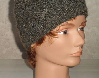 Unique Gold glossy wool hat seamless trendy Plaid knit creation size 54/56