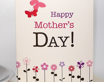 O Happy Day - Mother's Day Card with Flowers & Butterflies on 100% Recycled Paper