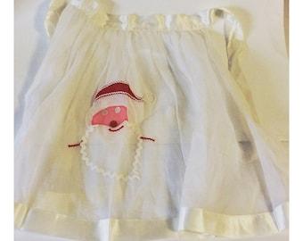Vintage Handmade White Santa Claus Apron