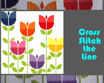 Modern cross stitch pattern. Floral design. Contemporary embroidery sampler.  Easy to follow cross stitch chart. Field of retro tulips.