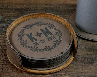 Personalized Coaster Set, Leather Coasters, Customized Coasters, Engraved Coasters, Monogrammed Coasters, Laurel Design, Couples Gift idea