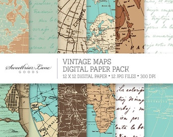 Vintage Maps Scrapbook Paper for Instant Digital Download for invitations, stationery, scrapbooking, and many more!