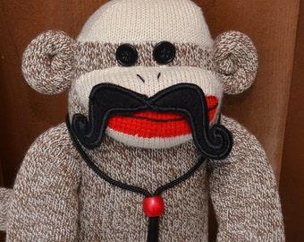 Sock Monkey with choice of Mustaches. Sock Monkey Stache, Movember Sock Monkey