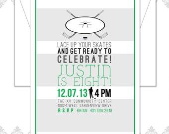 Hockey Birthday Invite, Hockey Party, Ice Hockey Birthday Invitation, Hockey Sticks and Puck Birthday Invite, Modern Hockey Invite