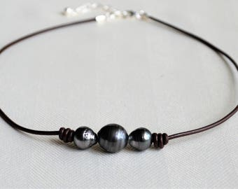 Three Genuine Tahitian Pearls on Leather Choker 925 Sterling Silver Closure Salt Water Pearls Trio/Three Wishes Gifts For Her JewelryByYevga