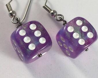 Purple sparkly dice earrings - earrings for gamer girls