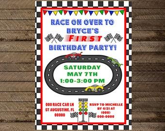 Race car invite, nascar invite, boy first birthday invite, race car birthday, race car party theme, race car invitation, nascar invitation