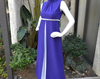 Vintage 1970's Cha-Cha Purple and White Empire Waist Jumpsuit - Size 2