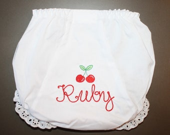 Floss Stitch Name with Red Cherries on Bloomers