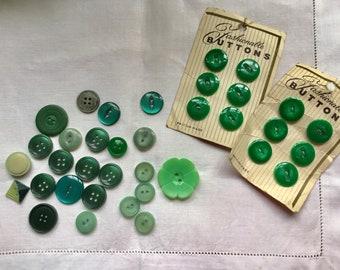 36 Vintage green assorted buttons, some sets, 12 on original cards, job lot