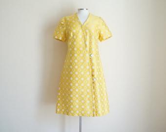 Vintage 1960s Dress / Vintage Yellow Dress