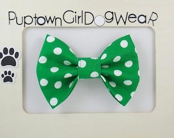 Green Bow Tie Green Polka Dot Bow Tie  Bowties Holiday Bow Tie St. Patrick's Day  Bow Tie Bow Tie for Cats
