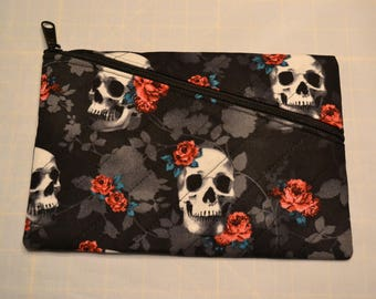 Skulls and Roses Quilted Zippered Clutch