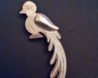 """Vintage Sterling Silver .925 Mexico Quetzal Bird Pin Brooch 4.8 Grams 2.5 """""""