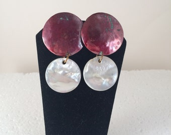 Red copper with mother of pearl dangle stud earrings.