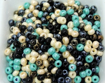 Tuscany Turquoise Luster, Czech Glass, seed bead mix, size 6, Tuscany, Italy, Mediterranean, Wine, Vinyards