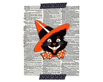 Halloween Cat Print - Halloween Black Cat Print - Vintage Halloween Clip Art - Printable Halloween Graphic Image - Digital Download