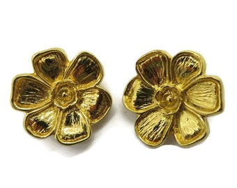 Vintage Earrings, Goldtone Flower, Signed Laura Belle Clip on Earrings, Mid Century Jewellery Gift Idea for Her