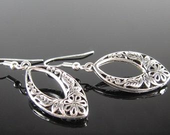 Silver drop earrings, surgical stainless steel, nickel free earrings, Simple earrings, marquis earrings, Art Deco earrings, silver dangle