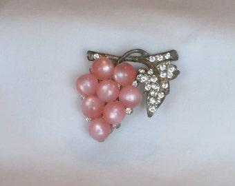 Pink grape brooch