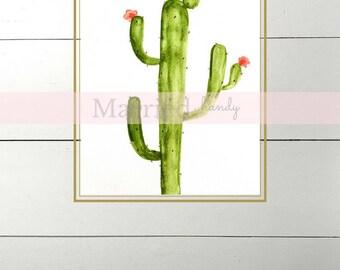 Saguaro Cactus Watercolor Print