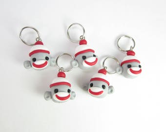 Sock monkey stitch markers, sock monkey charms, animal polymer clay, knitting accessories, knit cute, gifts for knitters gift, knit monkeys