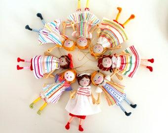 Handmade Felt Bendy Dolls, Handmade Dolls in Pillowcase Dress