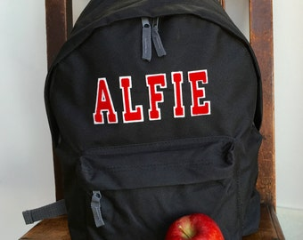 Personalised Rucksack Varsity Style Letters Backpack Girls and Boys School Gym School Swimming Bag Football