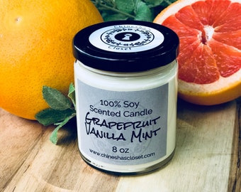 Grapefruit Vanilla Mint//Highly Scented//Soy Candle//Handmade Candle//Hand Poured Candle//Coworker Gift