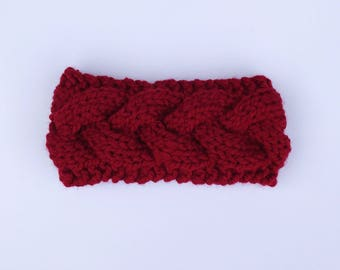 Cable Knit Headband // Cranberry