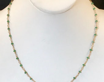 Wire Wrapped Tsavorite Garnet Beaded Necklace