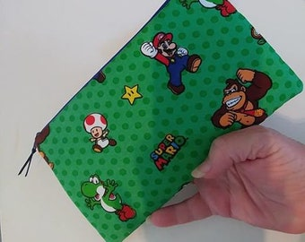 MARIO NINTENDO Padded Zippered Wallet  Pouch Gamer Case Make Up Bag Pencil Case Anime Cosplay