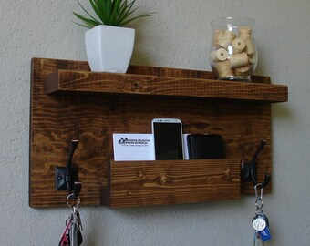 Modern Rustic Mail Organizer with Shelf