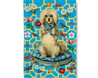Little White Puppy Tea Towel/ Dish Towel