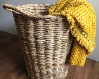 Full Vintage Nubby Yellow Cottom Blankets with Fringe- ONLY ONE LEFT!